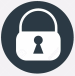 Circle blue icon with shadow. padlock symbol